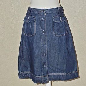 Old Navy A Line Button Front Pocket Jean Skirt S6